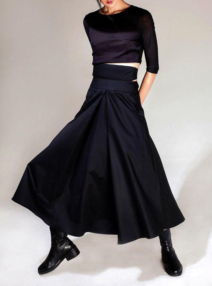 Avan-Garde Loose fitting Wide Leg Japanese Style Asymmetrical High Waist Bandage Skirt Trouser