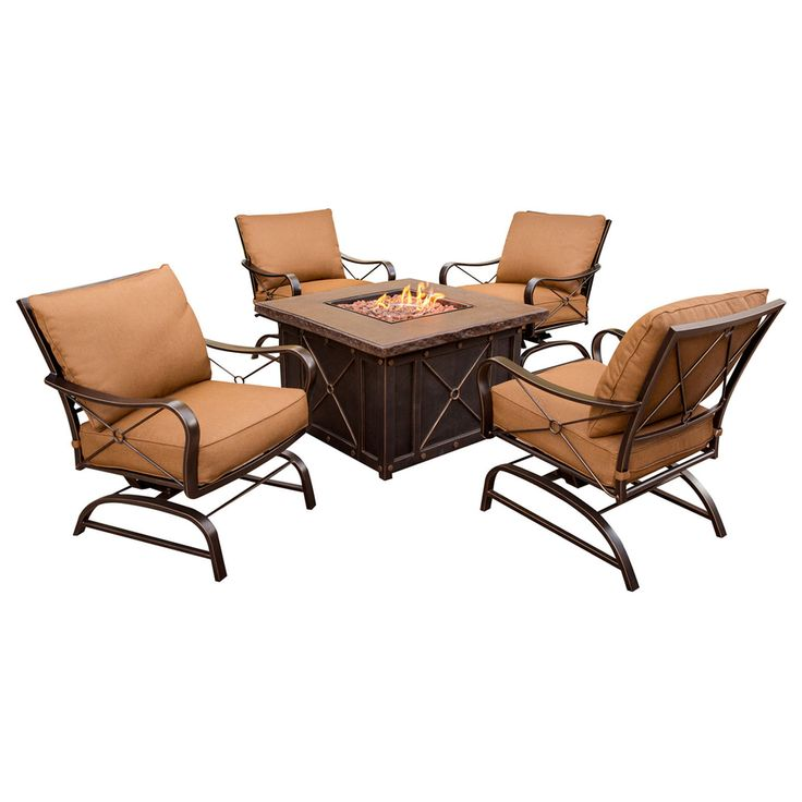 Shop Hanover Outdoor Furniture 5 Piece Orange Aluminum Patio Conversation  Set At Lowes.com Part 89