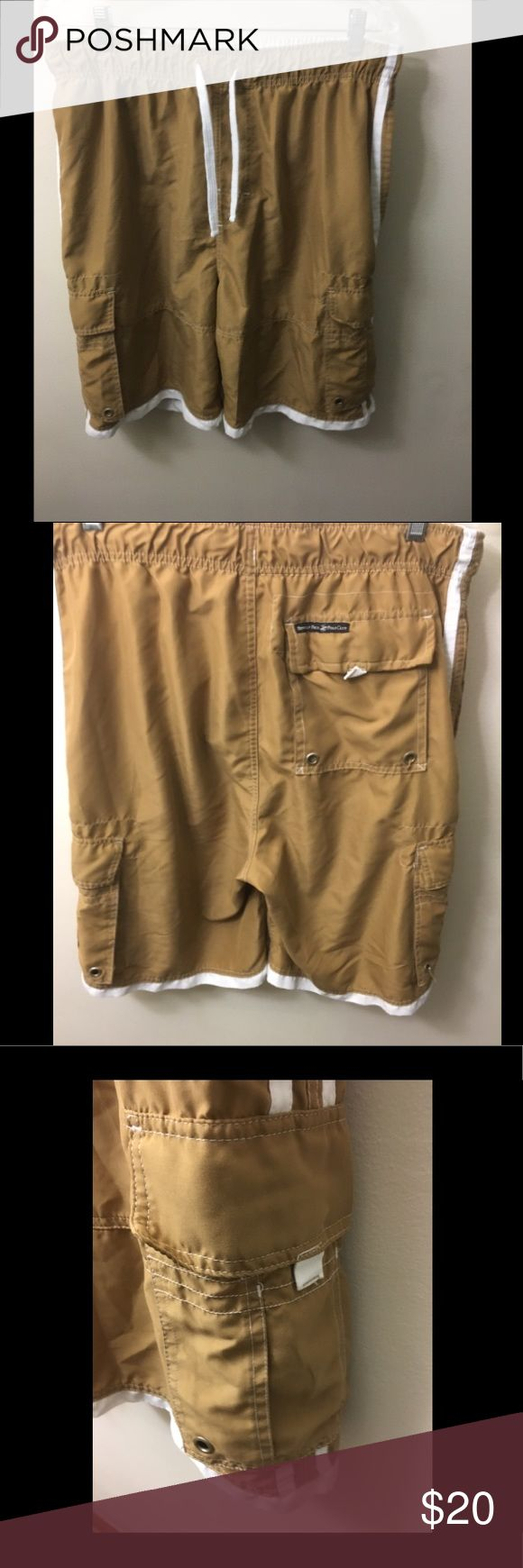 Men's swim shorts Camel color swim trunks with multi pockets. Polo by Ralph Lauren Swim Swim Trunks