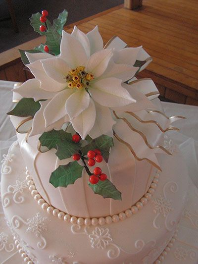 the Christmas cake with white poinsetta