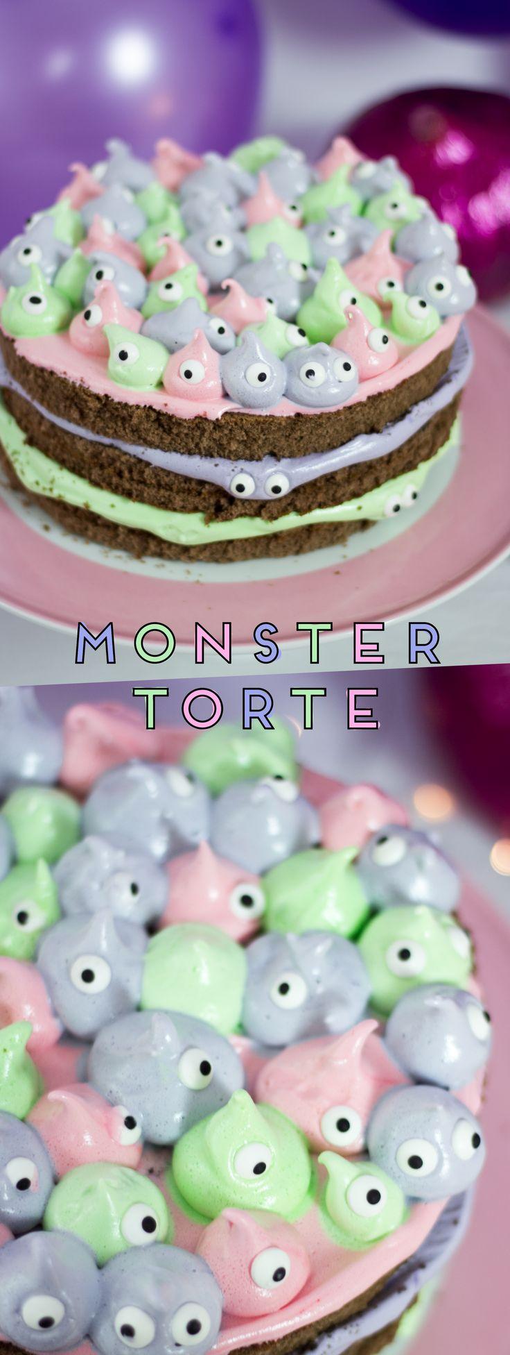 Rezept für eine Monstertorte mit Marshmallow-Frosting an Halloween, Geburtstagen oder Kinderfeiern