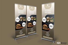 Roll-Up Banner for Restaurant by NEXDesign on @creativemarket