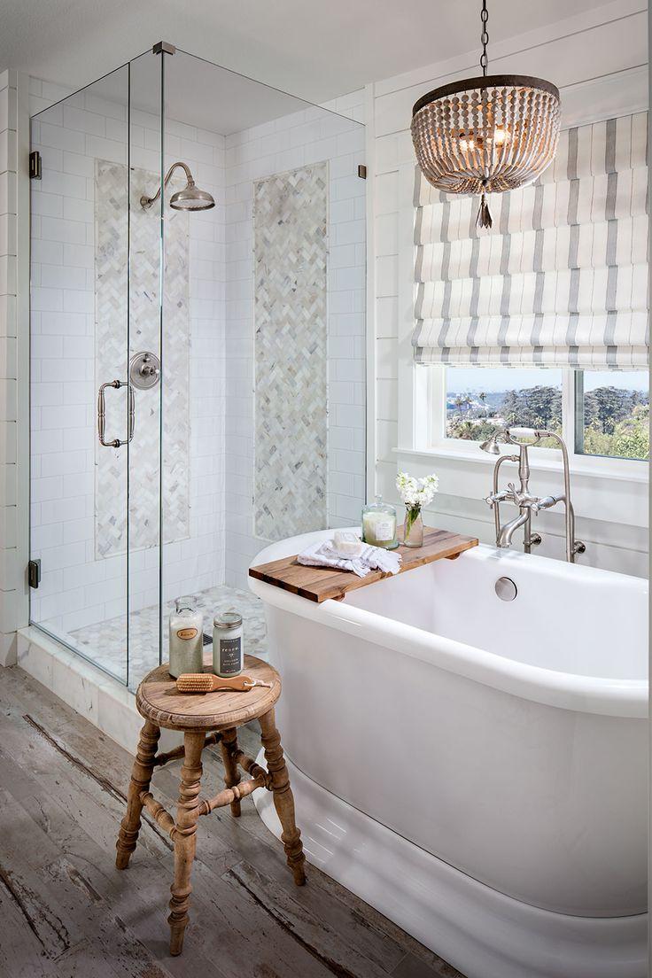 6115 best cozy cottage baths images on pinterest for Farmhouse bathroom tile design ideas