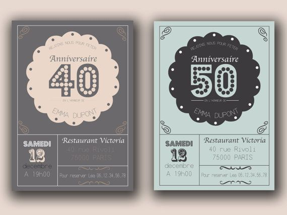 faire part invitation anniversaire 20 30 40 50 ans par artetdeco anniversaire birthday. Black Bedroom Furniture Sets. Home Design Ideas
