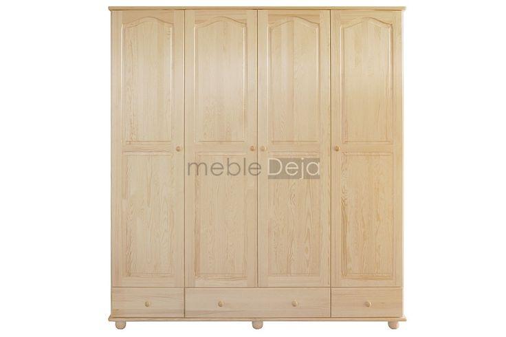 Szafa drewniana wykonana w całości z drewna sosnowego. Jedynie na tyłach i dnach szuflad montowana jest płyta pilśniowa.  Elementy są w 100% drewniane, fronty mebli wykonane są z bezsęcznego drewna sosnowego.  Produkt dostępny w pełnej gamie kolorystycznej.   WYMIARY ZEWNĘTRZNE szerokość: 200cm wysokość: 210cm głębokość: 57cm