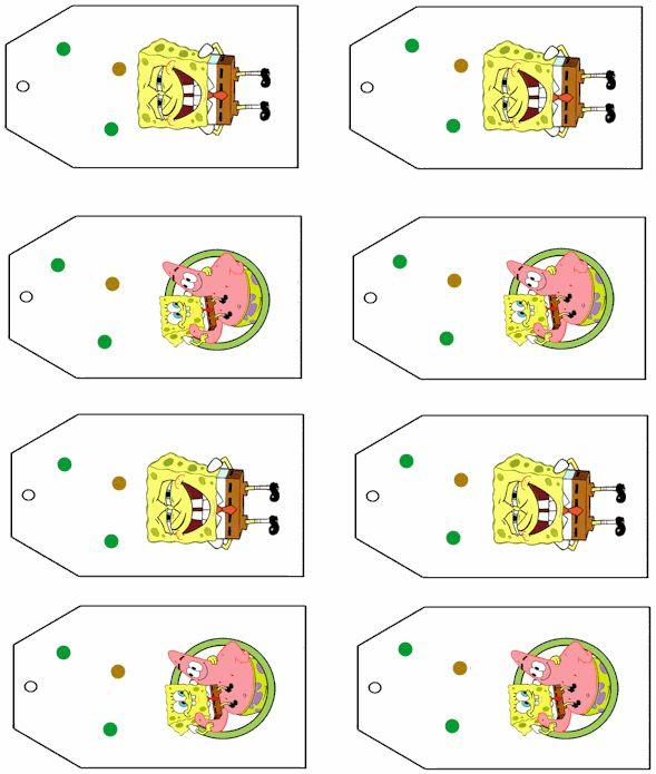 Spongebob party tags free printables