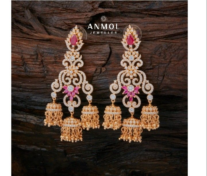 Fancy Tri-jhumki design with cluster of ruby. #anmol_jeweller   #gold #fancy #beautiful #designer #jhumki #hanging #latest #fashion #royal #lavish #trendy #jewel #jewelery #ootdfashion #jeweloftheday  #lovely #gorgeous   For queries call or watsapp:9910401704.  To place order mail us at:Anmol.jeweller01@gmail.com