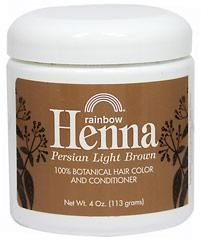 Henna Persian Light Brown Hair Color & Conditioner. Henna is an alternative to chemical hair colorings that are controversial to health considerations. Henna comes from small shrubs, called Lawsonia, native to the Middle East, West Asia, and North Africa. Rainbow Henna is 100% organic-no additives, chemicals or pesticides. Rainbow Henna smooths and seals the hair's cuticle for greater shine. Blends naturally, fades gradually. Lasts 4-6 weeks.