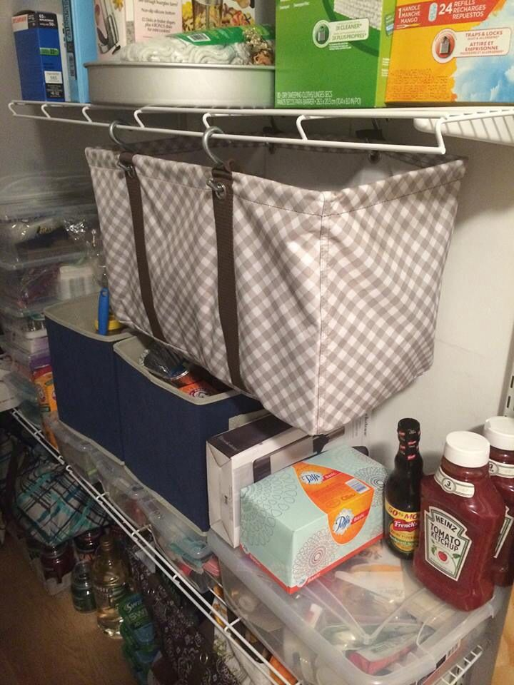 This. Is. BRILLIANT!!  Use S-Hooks through the grommets of a Large Utility or Deluxe Utility Tote for extra storage in your pantry, laundry room, or closet!!  They're on sale this month!!  For EVERY $35 you spend, you can get the Large Utility Tote for $10  the Deluxe Utility Tote for $25!