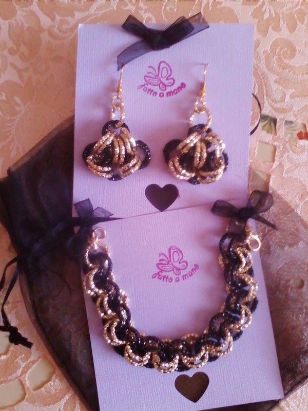 Parure bracciale e orecchini in catena in alluminio diamantata nero-oro