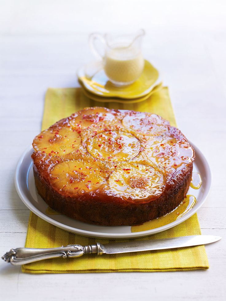 Adding chilli to a cake might seem strange, but it really complements the pineapple in this gorgeous upside-down cake recipe.