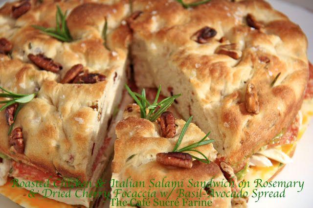 Roasted Chicken & Italian Salami Sandwich on Rosemary & Dried Cherry Focaccia w/ Basil-Avocado Spread - thecafesucrefarine.com