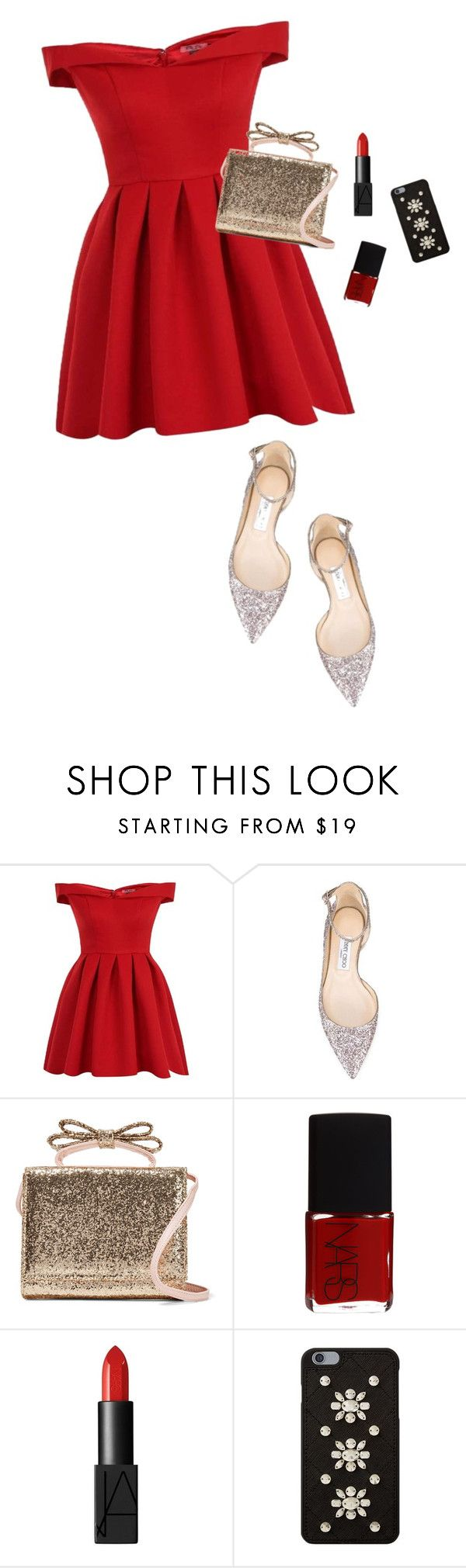 """""""Untitled #1987"""" by katerina-rampota ❤ liked on Polyvore featuring Chi Chi, Jimmy Choo, RED Valentino, NARS Cosmetics and MICHAEL Michael Kors"""
