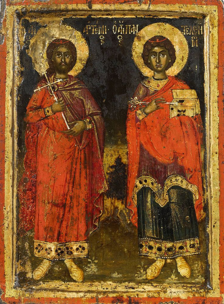 Detailed view: KK055. Saint Artemios and Saint Pantaleimon- exhibited at the Temple Gallery, specialists in Russian icons