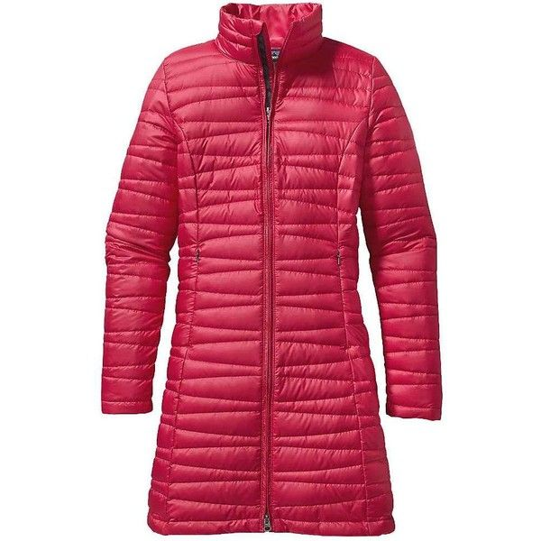 Patagonia Women's Fiona Parka ($239) ❤ liked on Polyvore featuring outerwear, coats, portofino pink, red coat, print coat, pattern coat, pink coat and pink parka coat
