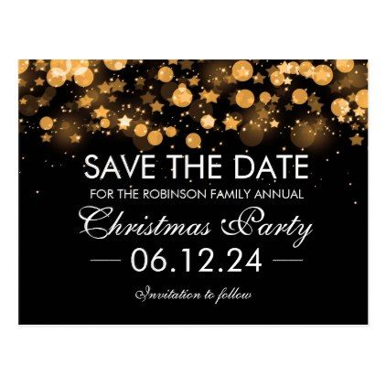 Save The Date Christmas Gold Sparkling Stars Postcard - save the date gifts personalize diy cyo
