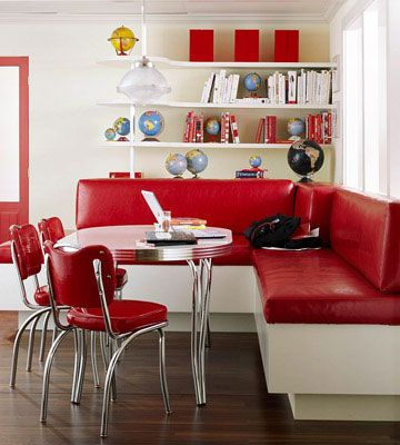 Red diner-style banquette love red in kitchens: Dreams Kitchens, Kitchens Banquettes, Red, Breakfast Nooks, Kitchens Tables, Kitchens Ideas, Diners Kitchens, Kitchens Booths, Retro Kitchens