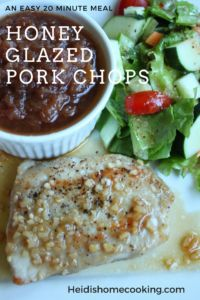 Need an easy but healthy dinner recipe? Try these honey glazed pork chops! They can be cooked and on your plate in 20 minutes. The glaze is made with honey and garlic, giving the pork a smooth and sweet taste. This is one of my family's favorite meals; try it today!