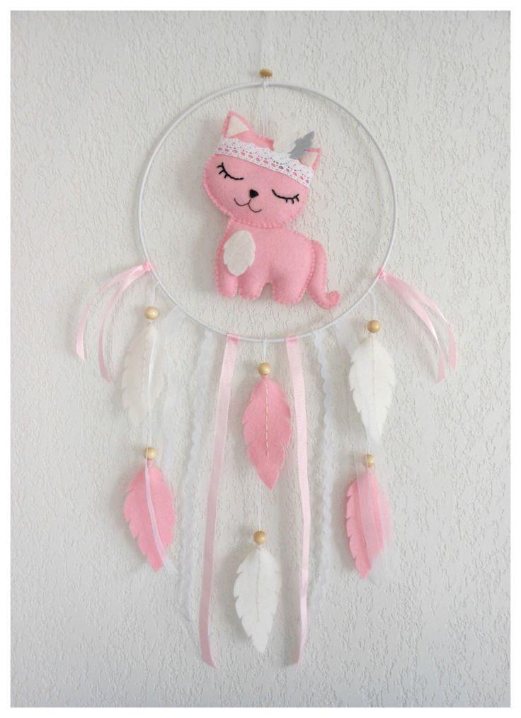 Attrape-rêves Chat rose ou mobile pour décoration chambre de bébé ou d'enfant Idée cadeau naissance baptême anniversaire : Jeux, peluches, doudous par histoire-de-pitchouns