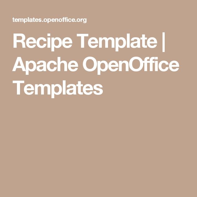 Recipe Template | Apache OpenOffice Templates