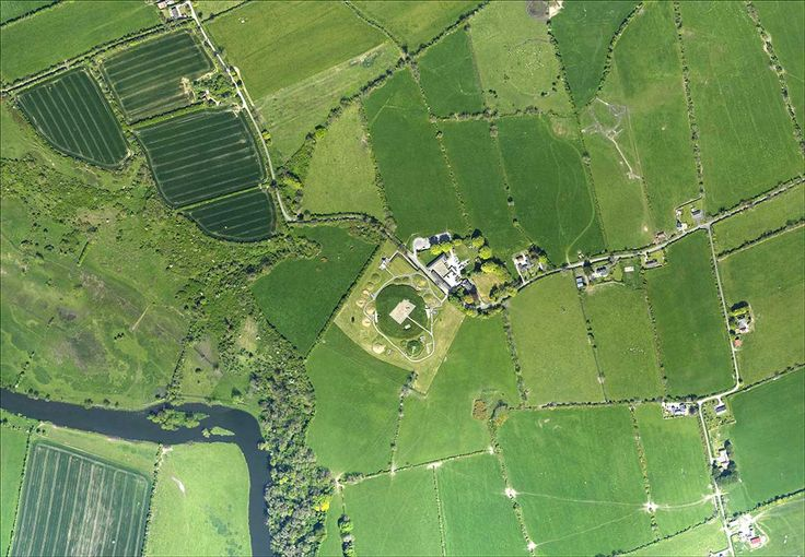 Vertical aerial image of the Knowth Archaeological Complex