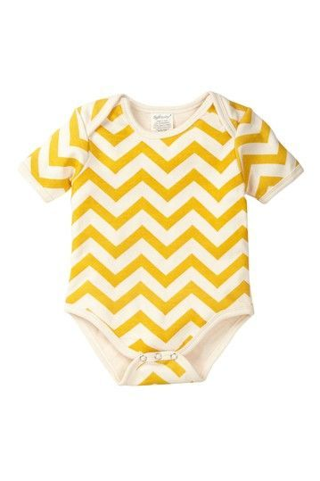 Yellow Chevron Baby Onesie.