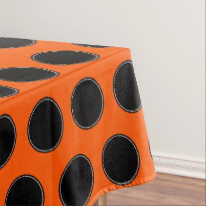Halloween Black and White Dots on Orange Tablecloth - halloween decor diy cyo personalize unique party