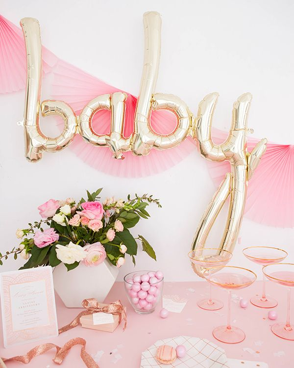 Rose gold themed baby shower.  Styled by Oh Happy Day. Gold foil-pressed baby shower invitation suite by Minted artist Petra Kern. Celebrate the arrival of your little one with unique designs from our independent artists.