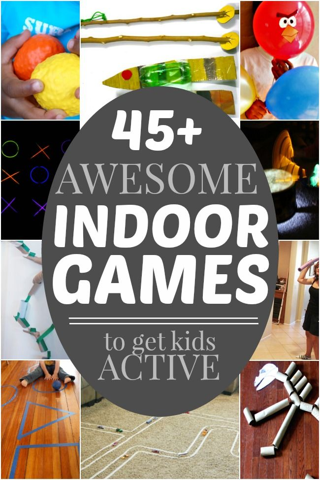 Lots of active indoor games for kids when it's too cold to go outside.  Perfect for cold weather and snow days!: