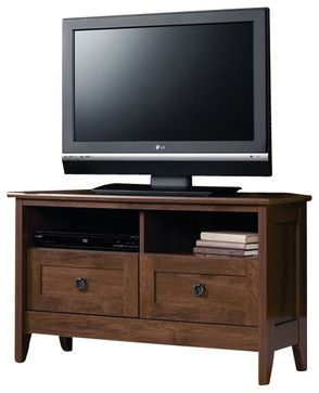 Sauder August Hill Corner TV Stand in Oiled Oak craftsman-media-storage