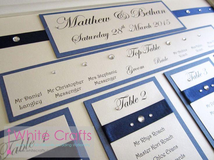 Navy stylish wedding table plan at St Pierre. #WhiteCrafts #TablePlan #Wedding