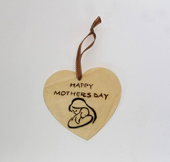 Mothers Day Wooden Heart Plaque With A Mother Child Image