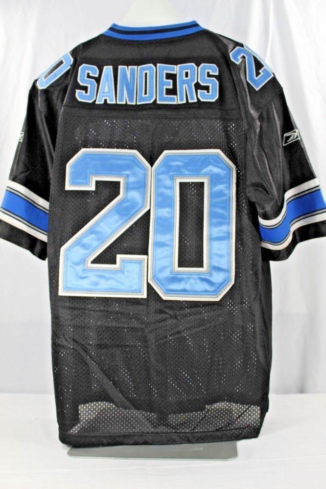 sale retailer c6230 477c6 Detroit Lions Barry Sanders #20 Black Jersey Authentic ...