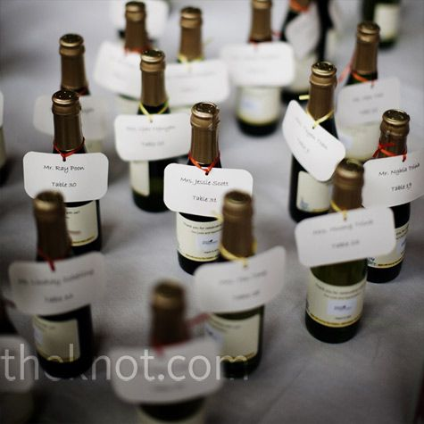 champagne bottle place cards