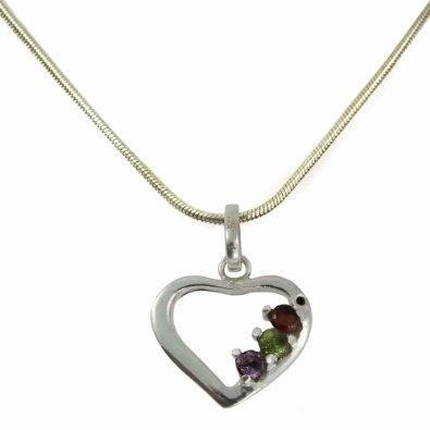 Pendant Locket with Chain Silver Multi Gemstone Jewelry: Jewelry: Amazon.com