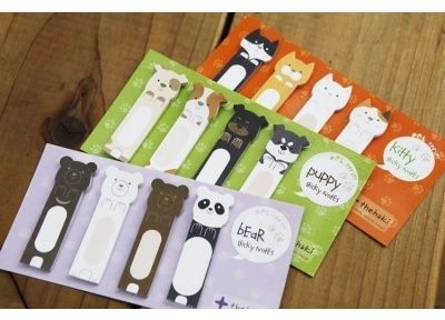 cute sticky note tabs - bears, cats, dogs