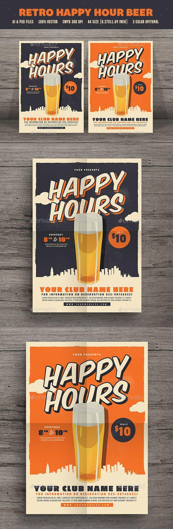 Retro Happy Hour Beer Festival — Photoshop PSD #bar • Download ➝ https://graphicriver.net/item/retro-happy-hour-beer-festival/19498315?ref=pxcr
