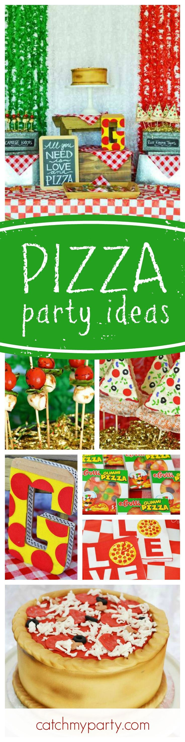 If you're a pizza lover you'll love this great Pizza birthday party! The pizza cake looks delicious!! See more party ideas and share yours at CatchMyParty.com
