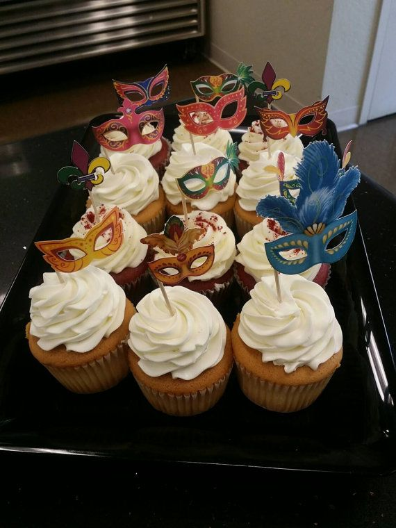 Ready to use Masquerade Cupcake Toppers. Wow your guests with these cute…