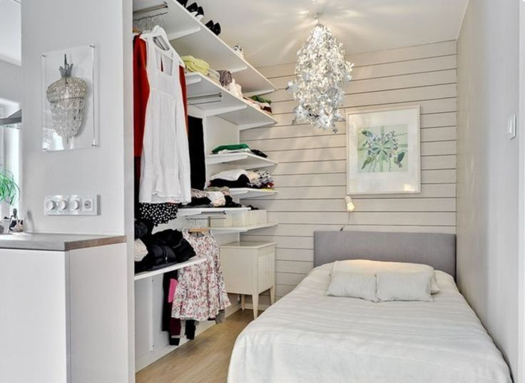 Bedroom: White Small Bedroom Decoration With Unique Metalic Pendant Light  Also Wall Mounted Cabinet And
