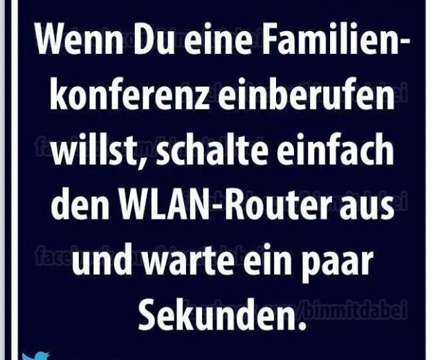 basically says if you want to have a family meeting turn off the WIFI and wait a few seconds.