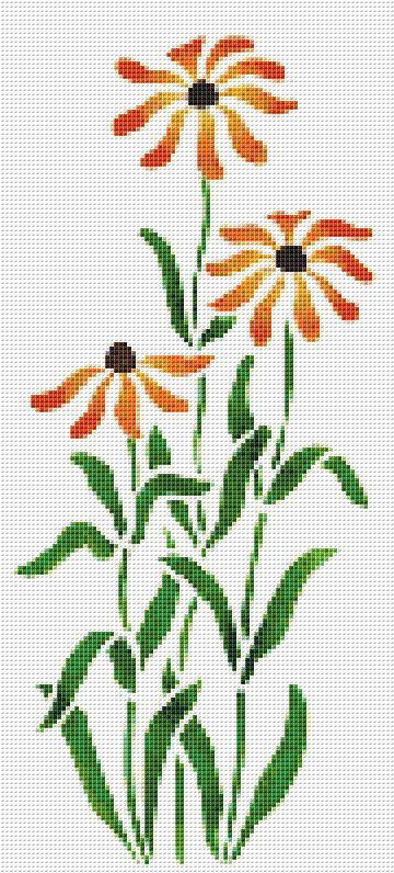 Orange Coneflower Counted Cross Stitch Pattern by xstitchpatterns