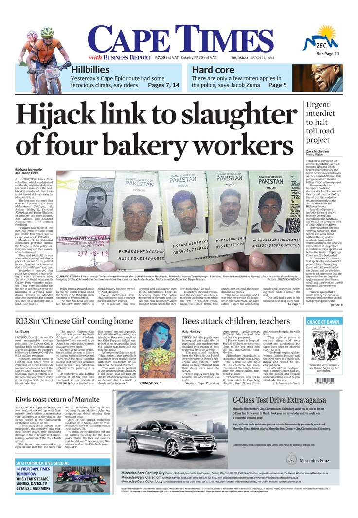 News making headlines:  Hijack link to slaughter of four bakery workers