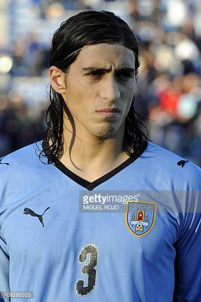 Uruguayan national football team player Martin Caceres poses for the picture before a FIFA World Cup South Africa 2010 qualifier football match...