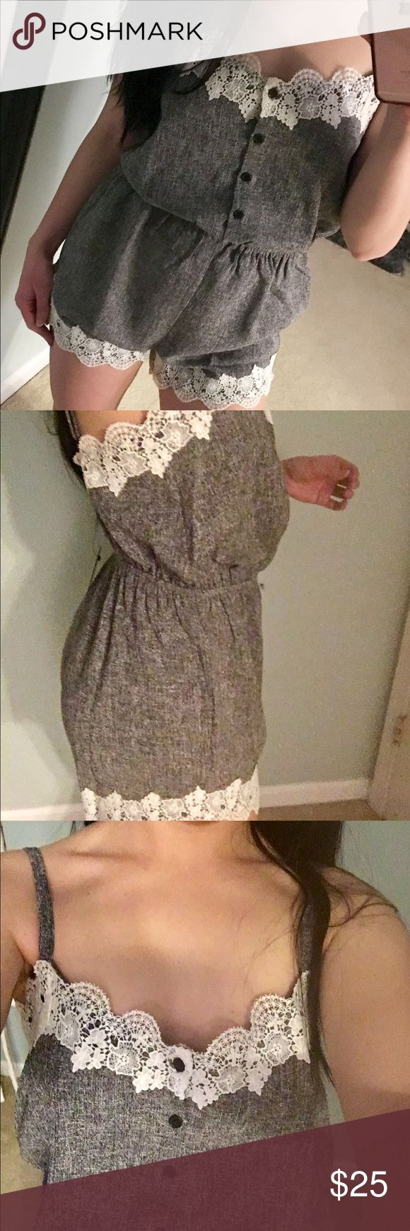 """Lace Trimmed Romper NWT Adorable gray romper with white lace trim. Adjustable straps. 100% polyester. Wearing size M in the pictures; I'm 5'2"""" 125 lbs, for reference. Smoke-free home, bundle to save✨🎀✨ Pants Jumpsuits & Rompers"""