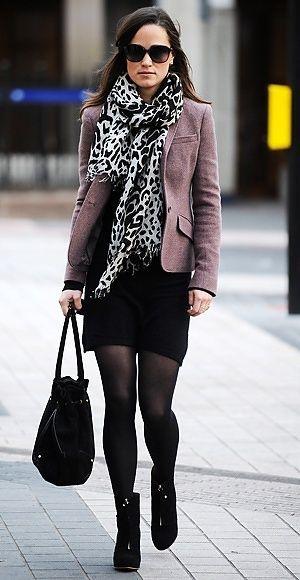 Work: Grey Blazer + Black Dress + Opaque Tights + Boots + Bold Print Scarf