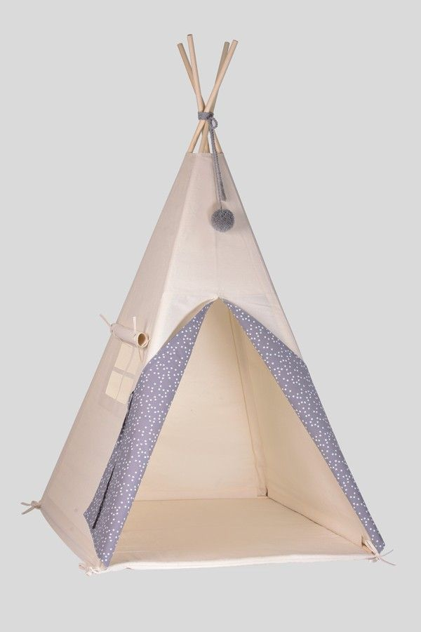 tipi/teepee - grey with white stars - BEDROOM