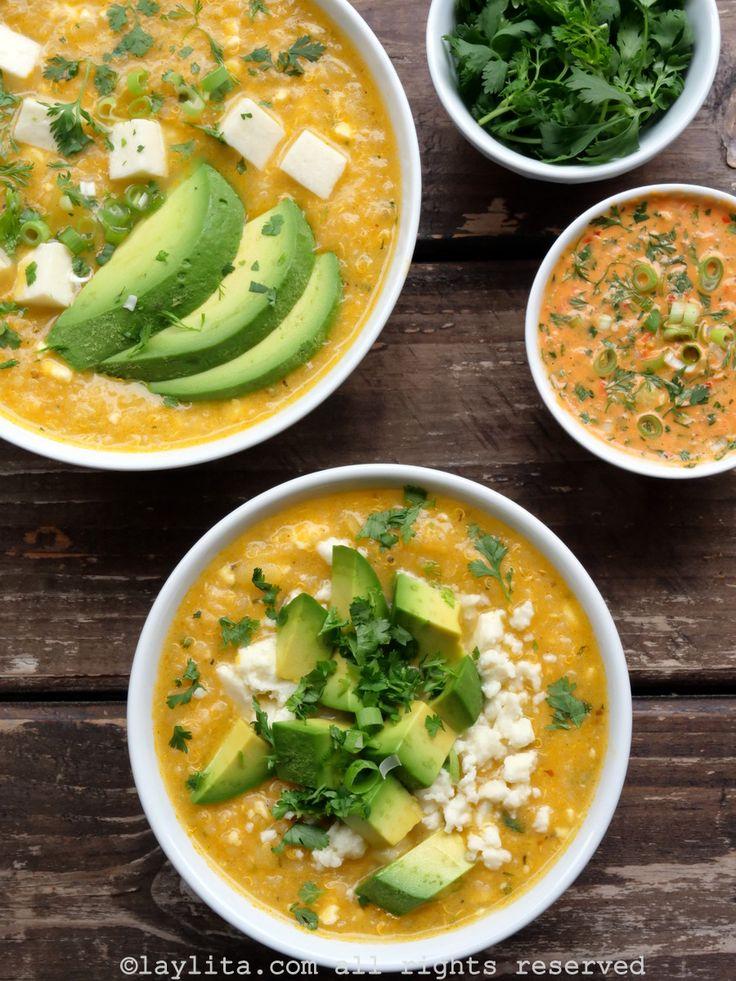 Locro o sopa de quinua con queso – Recetas de Laylita Quinoa, Achiote, Cheese Soup, Palak Paneer, Cilantro, Avocado, Potatoes, Cooking Recipes, Dinner
