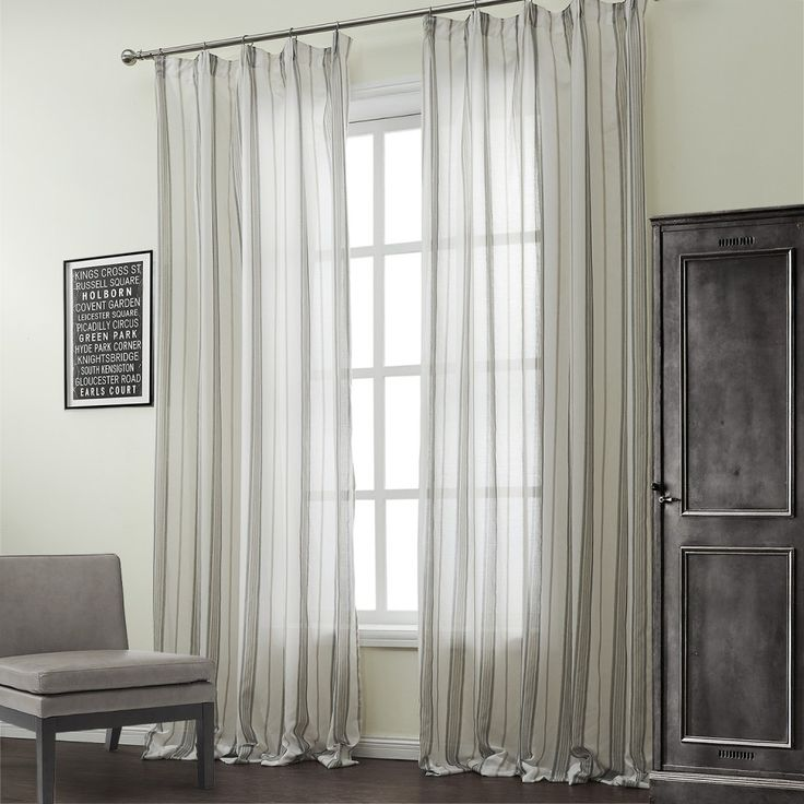 Classic Cotton Linen Blend Stripe Jacquard Sheer Curtain #sheer  #sheercurtain #custommade #curtains