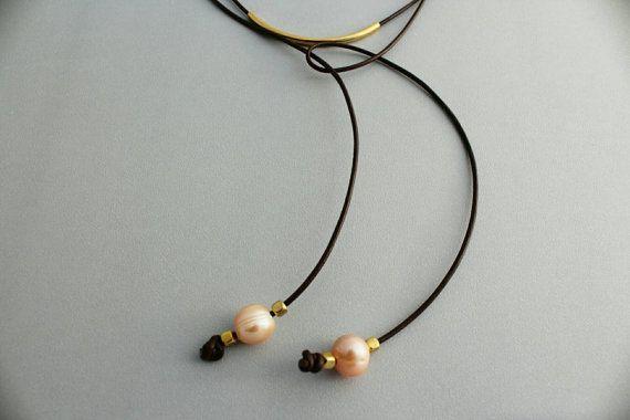 Long leather pearl lariat necklace - Rustic Boho lariat necklace -gold tube leather long lariat - leather wrap bracelet - 3rd anniversary #christmasgift #leatherjewelry #handmade #shopsmall #christmas2016 #stockingstuffer #leatherpearlnecklace #3rdanniversarygift #gypsyjewelry #handmadejewelry #bohemianstyle #etsyjewelry #giftforher #gemstone